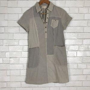 UO Silence + Noise Striped Shirt Dress